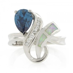 Pear Cut Alexandrite White Opal Sterling Silver Ring