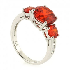 3 Round Cut Fire Cherry Opal Ring