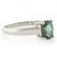 Mined Green Tourmaline Ring in Sterling Silver