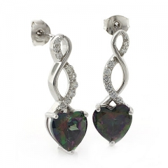 Mystic Topaz Heart Shape Silver Drop Earrings