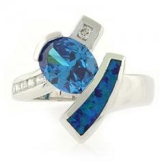Fashion Modern Blue Topaz Opal Ring