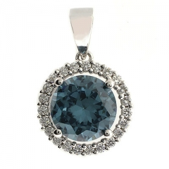 Changing Color Alexandrite Round Cut Stone Pendant