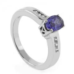 Oval Cut Tanzanite Silver Ring
