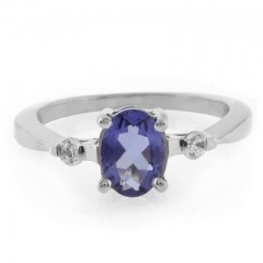 Oval Cut Tanzanite Silver Engagement Ring