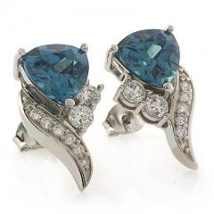 Alexandrite Trillion Cut Elegant Silver Earrings