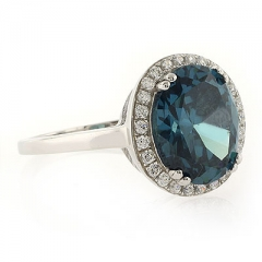 Alexandrite Very High Quality MicroPave Silver Ring