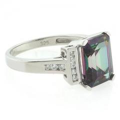 Mystic Topaz Emerald Cut Stone Ring