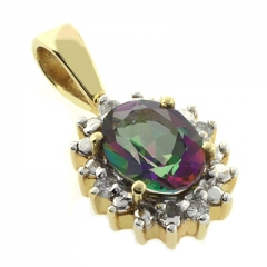 Genuine Mystic Topaz Diamonds Gold Charm Pendant