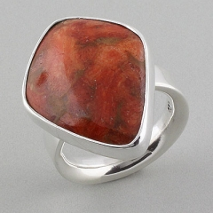 Comfort Fit Genuine Red Coral .950 Silver Ring