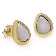 14K Yellow Gold Genuine White Opal Studs