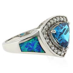 Australian Opal Ring with Huge Blue Topaz