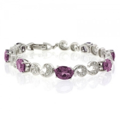 Oval Cut Alexandrite Silver Bracelet Purple to Pink Color Change