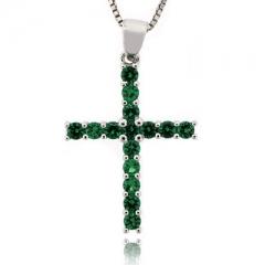 Emerald Sterling Silver Cross Pendant