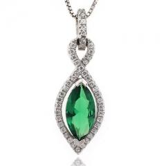 Marquise Cut Emerald Silver Pendant