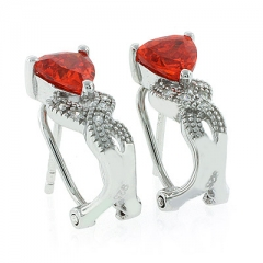 Fire Opal Omega Back Silver Earrings