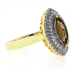 Marquise Cut Smoked Topaz Sterling Silver Ring