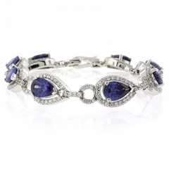 Pear Cut Tanzanite Silver Amazing Quality Bracelet