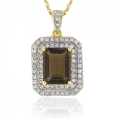Emerald Cut Smoked Topaz Sterling Silver Pendant