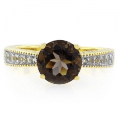 Smoked Topaz Round Cut Stone Sterling Silver Ring