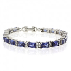 Emerald Cut Tanzanite Silver Bracelet