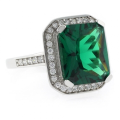 Emerald Cut Micro Pave Emerald Ring