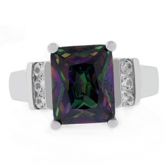 Radiant Cut Stone Mystic Topaz Ring
