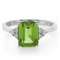Emerald Cut Peridot Silver Ring