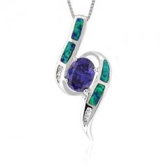 Oval Cut Tanzanite Opal Silver Pendant
