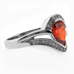 Pear Cut Fire Opal Silver 925 Ring