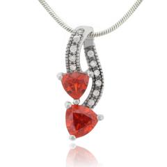 Double Stone Fire Opal Silver Pendant