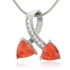 Two Stone Cherry Opal Silver Pendant