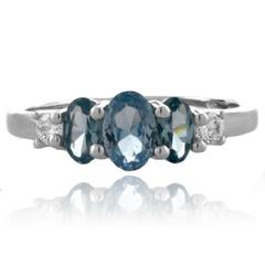 3 Oval Cut Aquamarine Stones Silver Ring