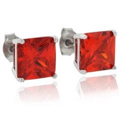 Fire Opal Silver Earrings Square For Pierced Ears