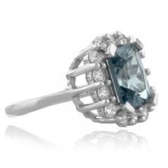 Aquamarine Framed Sterling Silver Ring