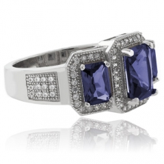Beautiful 3 Emerald Cut Tanzanite .925 Sterling Silver Ring