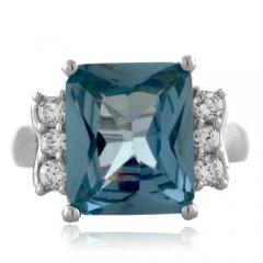 Big Aquamarine Emerald Cut Silver Ring