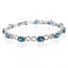 Blue to Green Alexandrite Silver Bracelet