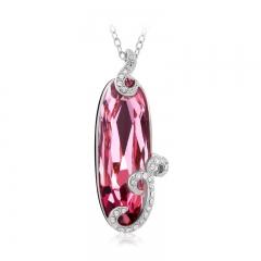 Brilliant Pink Swarovski Elements 18K White Gold Plated Necklace