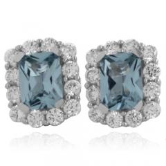 Emerald Cut Aquamarine Fashion Silver Earrings