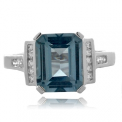 Emerald Cut High Quality Aquamarine Silver Ring
