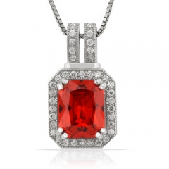 Emerald Cut Mexican Fire Opal .925 Silver Pendant