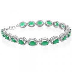 Emerald Oval Cut Silver Bracelet