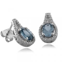 Oval Cut Aquamarine Fashion Silver Earrings