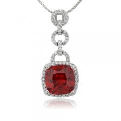 Emerald Cut Fire Cherry Opal Silver Pendant