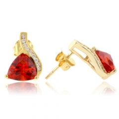 Gold Plated Fire Opal Silver Earrings