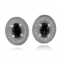 Mystic Topaz Micro Pave Silver Earrings