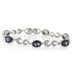 Oval Cut Alexandrite Silver Bracelet Blue to Purple Color Change