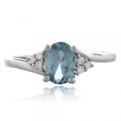 Oval Cut Aquamarine Fashion Silver Ring