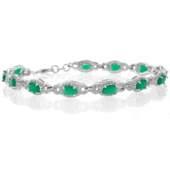 Oval Cut Emerald .925 Sterling Silver Bracelet