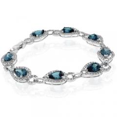 Pear Cut Alexandrite Sterling Silver Bracelet